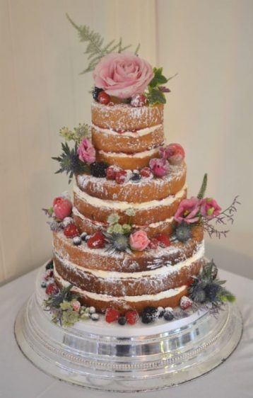 Naked wedding cake at Sopley Mill