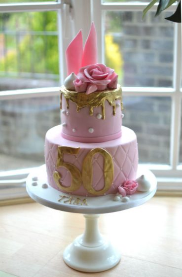 Pink & gold birthday cake