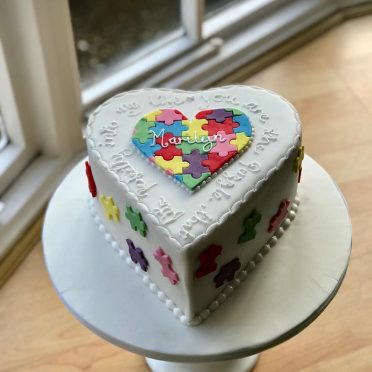 Puzzle love message birthday cake