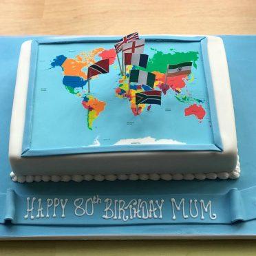 World traveller birthday cake