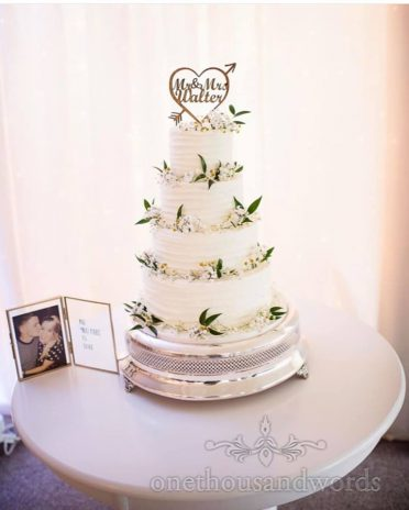 Buttercream coated wedding cake at Parley Manor
