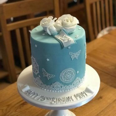 Duck egg blue birthday cake