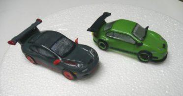 Handmade sugar Porsche models