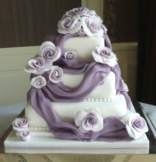Lilac & purple square wedding cake Chewton Glen