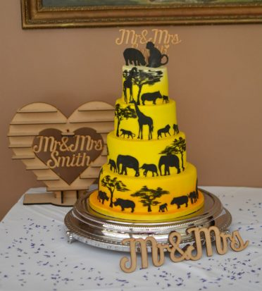 Safari Sunset wedding cake at Athelhampton House
