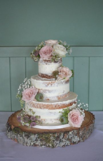 Semi-naked wedding cake at The Master Builders