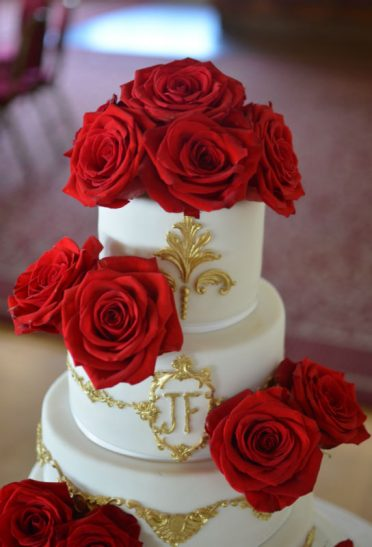 Close up of red roses Indian wedding cake Pavillion Bournemouth