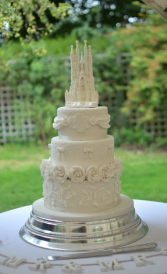 Segrada Familia wedding cake at Springhead, Fontmell Magna