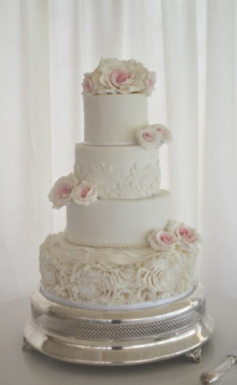 Ruffles, lace and pink roses at Parley Manor
