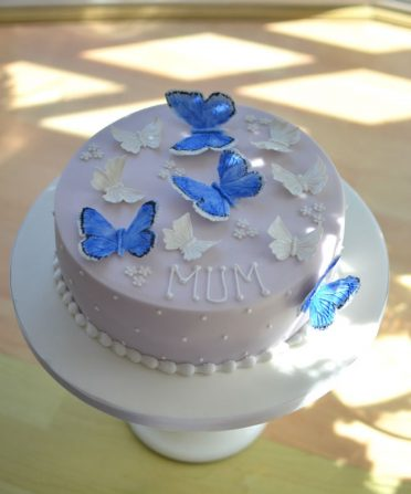 Blue butterflies birthday cake