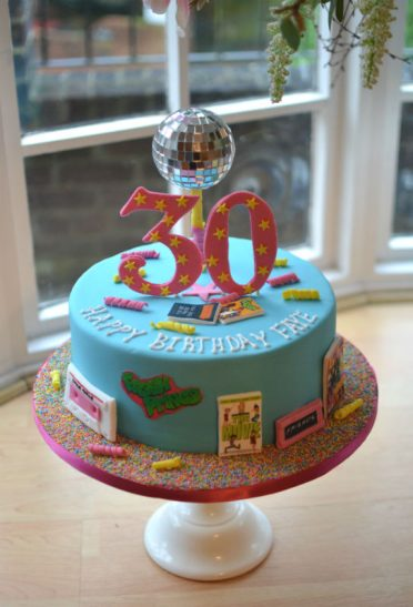 90s birthday cake with disco ball