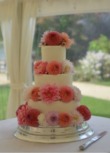 Dahlia wedding cake at Sherborne Caslte.