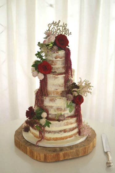 Semi-naked wedding cake at Parley Manor