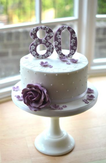 Lilac Birthday Cake With Rose