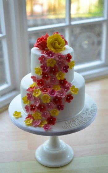 cascading flowers birthday cake