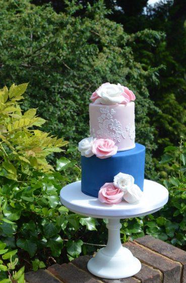 Pink & blue wedding anniversary cake