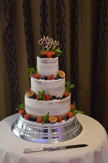 Semi-naked wedding cake at The Connaught Hotel