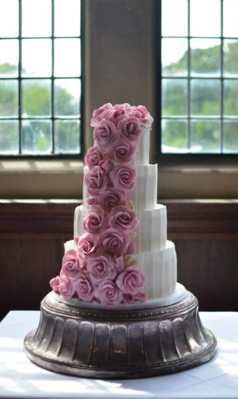 Cascading roses & panelling at Rhinefield House