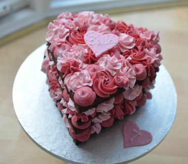 Chocolate pink heart cake