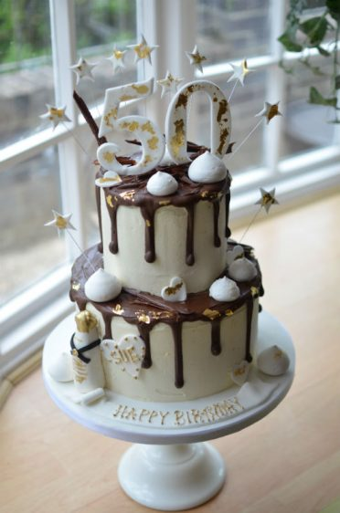 50th Gold drip birthday cake
