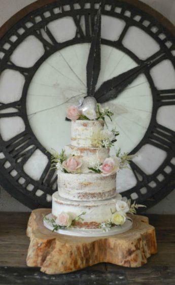 Semi-naked wedding cake at Axnoller