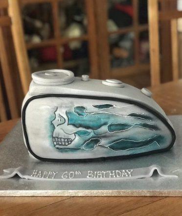 Motorbike fuel tank cake.