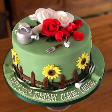 Garden birthday cake designed by the husband for his wife.