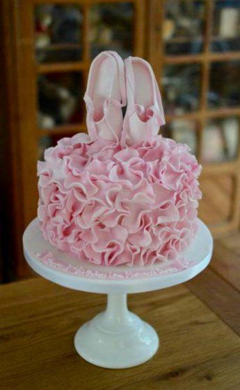 Pink ruffle ballet cake.