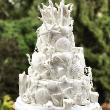 White shell wedding cake off to Kent for beach wedding & oyster week..