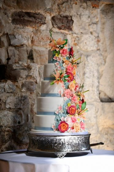 5 Tier wired & sugar flowers at Lulworth Castle