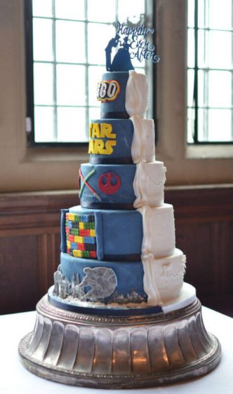 His & Hers wedding cake. At Rhinefield House