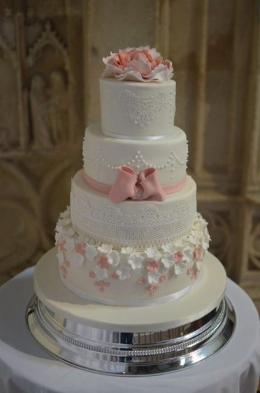 Blush pink & ivory wedding cake at Highcliffe Castle
