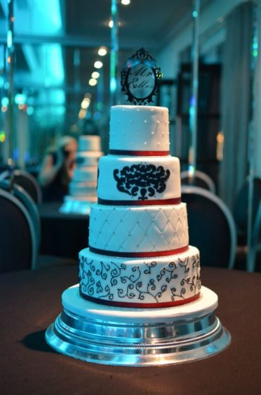 Black red & white wedding cake at The Cumberland Hotel.