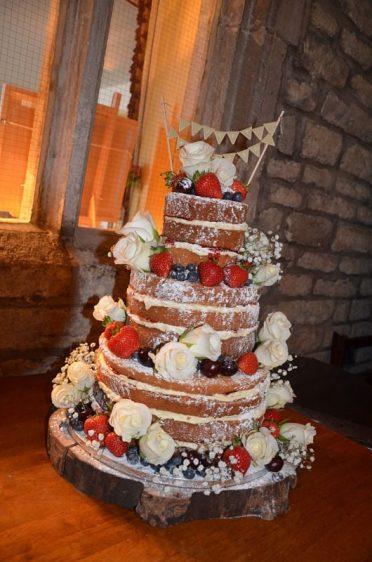 Naked wedding cake at Corfe Castle