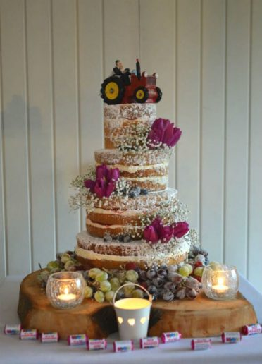 Four tier Naked wedding cake. At Sopley Mill