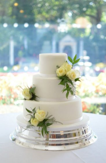 Classic white wedding cake at The Italian Villa