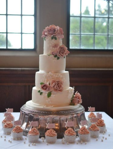 Dusky pink roses & lace at Rhinefield House