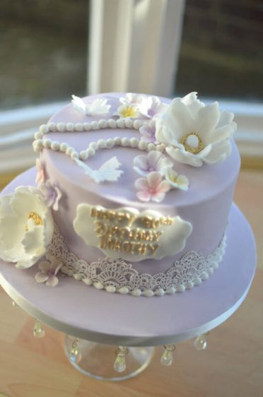 Lace & Pearls birthday cake