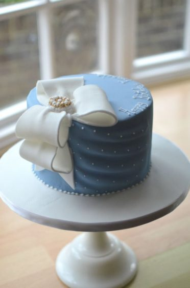 Fabric blue cake with Bow