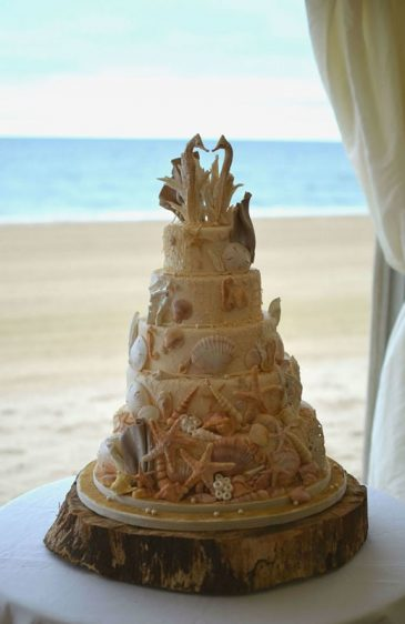 Seahorses beach wedding cake