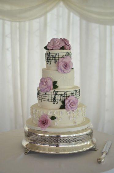 Lilac music wedding cake at Parley Manor