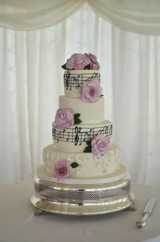 Lilac Music Wedding Cake At Parley Manor