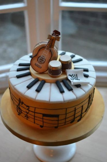 Musical cake. Notes read Happy Birthday to you.