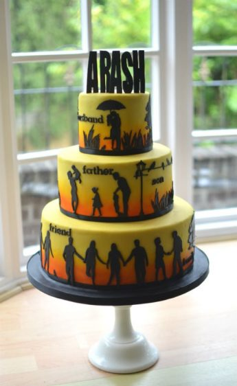 Sunset & silhouette cake.