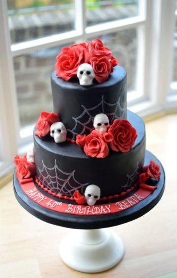 Skulls & roses birthday cake.