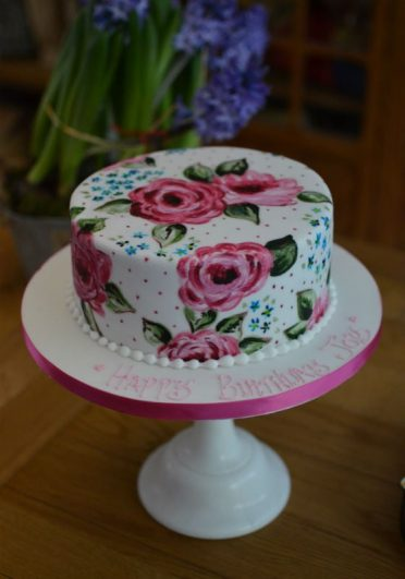 Hand painted roses cake