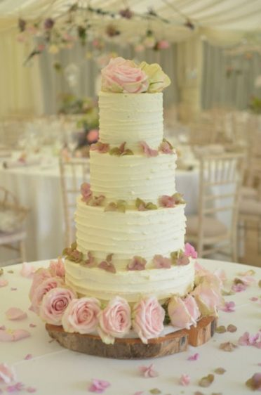 Buttercream coated with fresh flowers from Liz Wallace florist at Beaulieu.