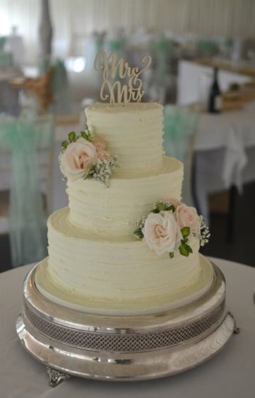 Buttercream wedding cake at Parley Manor