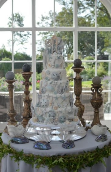 5 Tier Seahorses wedding cake at Pennsylvania Castle