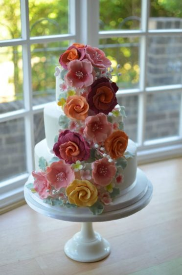 Sugar flowers wedding cake delivered to Elvetham Castle Surrey
